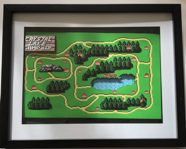 Friday the 13th NES  Camp Crystal Lake 3D Map Art Limited Edition